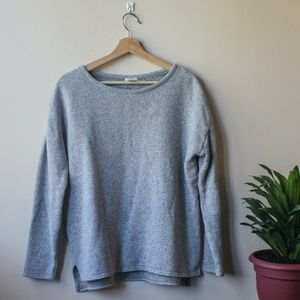 J.Crew Textured Gray Crew Neck Sweater